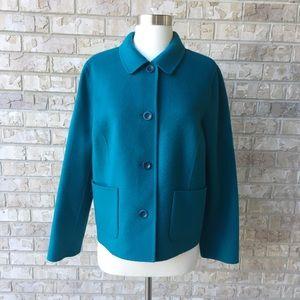NWOT Talbots Turquoise Wool Pea Coat Jacket 12
